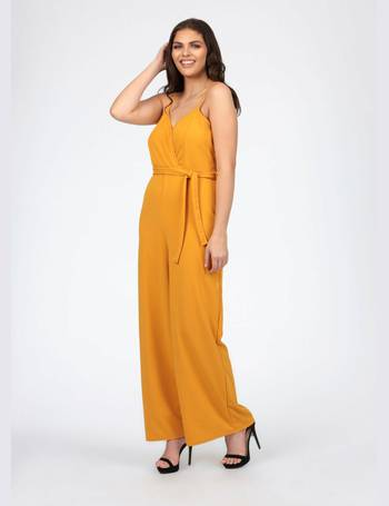 8005b871852 Plus Amora Wrap Front Strappy Wide Leg Mustard Jumpsuit from Pink Clove