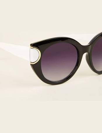 78d8107d73 Black Colour Block Oversized Round Sunglasses New Look from New Look