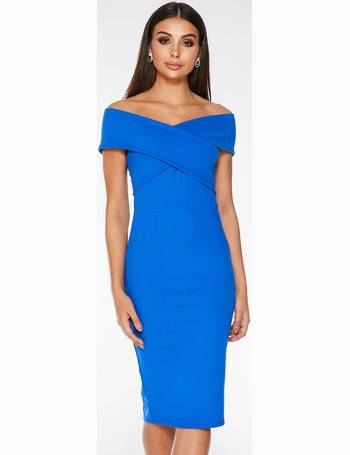 f5035085bc Royal Blue Wrap Bardot Midi Dress from Quiz Clothing