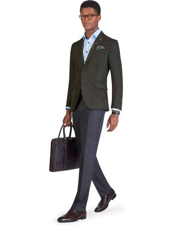 T.M.Lewin Ferriano Jacket in Blue Herringbone Lanificio Campore Wool Cashmere
