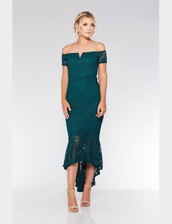 951530272027 Bottle Green Lace Dip Hem Maxi Dress from Quiz Clothing