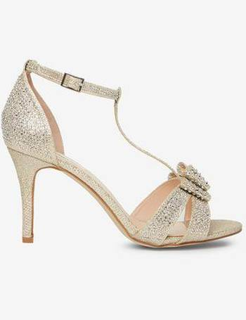 dd6602ab51fa Womens Showcase Wide Fit Gold  Sofia  Bow Heel Sandals- Gold from Dorothy  Perkins