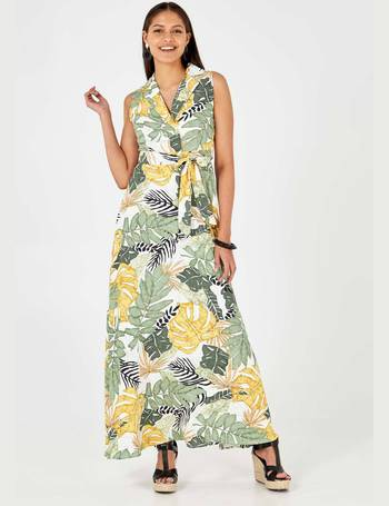 b8c0e7e68bb MICHELLE - Leaf Print Collar Wrap Front Green Maxi Dress from Blue Vanilla