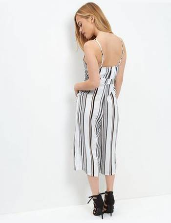 a92f4b5aea Petite White Stripe Culotte Jumpsuit New Look from New Look