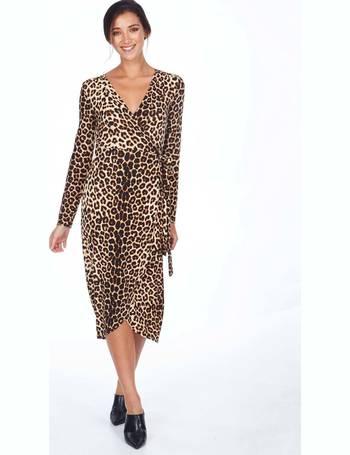 dd8ba37c72b6 DARIELA - Wrap Dip Back Midi Animal Print Dress from Blue Vanilla