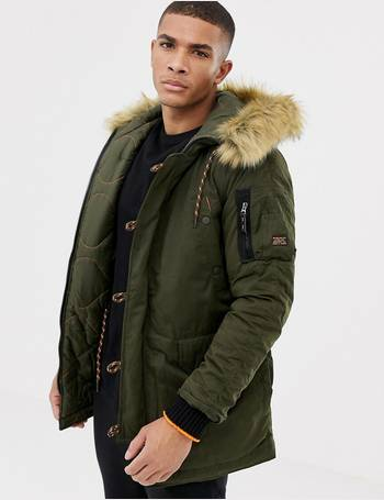 6b6a413740e sdx hooded parka jacket with faux fur trim in khaki