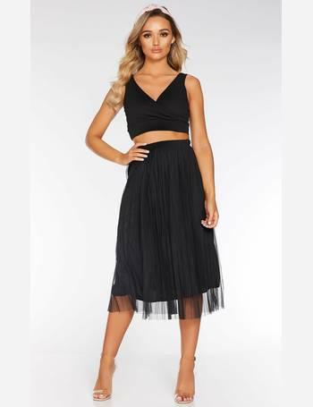 f1137ebf4 Black Mesh High Waist Midi Skirt from Quiz Clothing