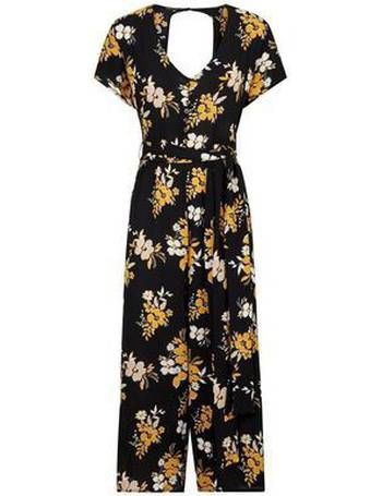 4c18ce04334 Cameo Rose. Black Floral Button Front Culotte Jumpsuit ...