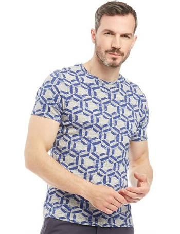571b55c0 Ted Baker. Mens Mitch Hexagon Print Short Sleeve T-Shirt Blue
