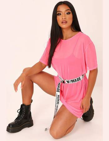 fb1a14511d32 Pink Mesh Oversized T-Shirt Dress from I Saw It First