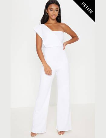 0ec1edc8026 Petite White Drape One Shoulder Jumpsuit from Pretty Little Thing
