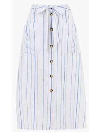 M/&S Ladies Skirt Blue Mix Pleated Zig Zag Striped Stretch Midi BNWT Marks