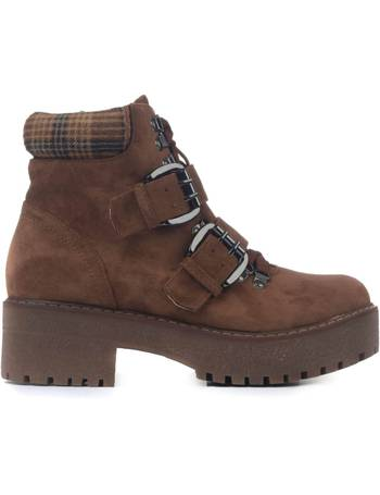 b344e6ee6b0 Brown Suede Double Buckle Tartan Collar Contrasting Hiking Boots from KOI  Footwear