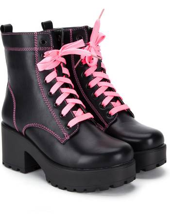 053074f1579 Black Chunky Platform Biker Boots with Neon Pink Laces and Stitching from  KOI Footwear