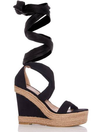 b943591180 Black Tie Up Ankle Hessian Wedges from Quiz Clothing