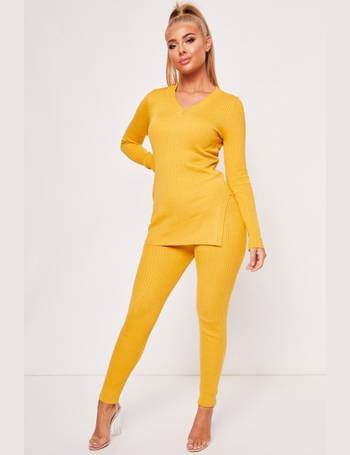 Lorna Mustard V Neck Ribbed Lounge Set from Miss Pap 511823ce1