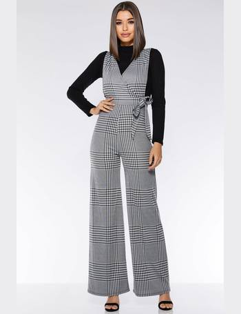edad004c2f Grey and Black Check Tie Belt Jumpsuit from Quiz Clothing