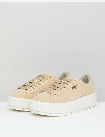 low priced 787e3 97ff3 Platform Trace Trainers In Sand With Contrast Sole
