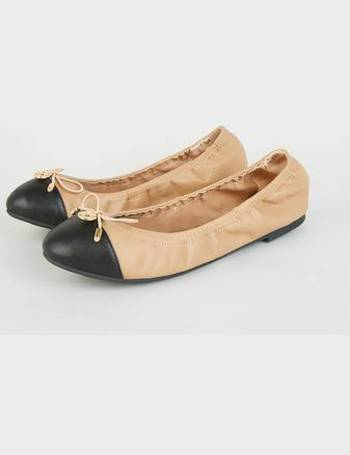 7bc2392b32 Wide Fit Camel Patent Toe Elasticated Ballet Pumps New Look from New Look